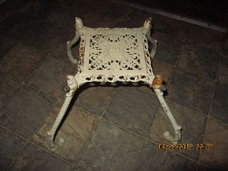 Antique White Cast Iron Ornate 4 Legged Stand Base Stool? - Mold Marked & Numbered photo