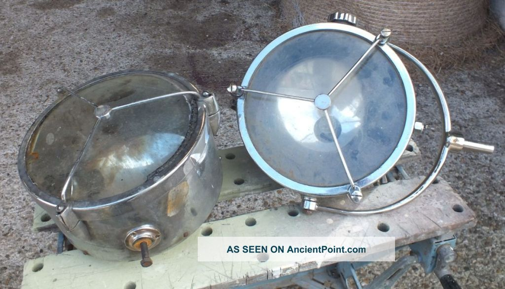 Two Vintage Large Size Chrome Brass Industrial Francis Searchlights Floodlights 20th Century photo