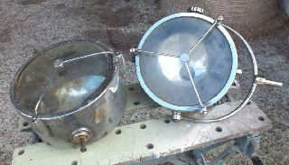 Two Vintage Large Size Chrome Brass Industrial Francis Searchlights Floodlights photo