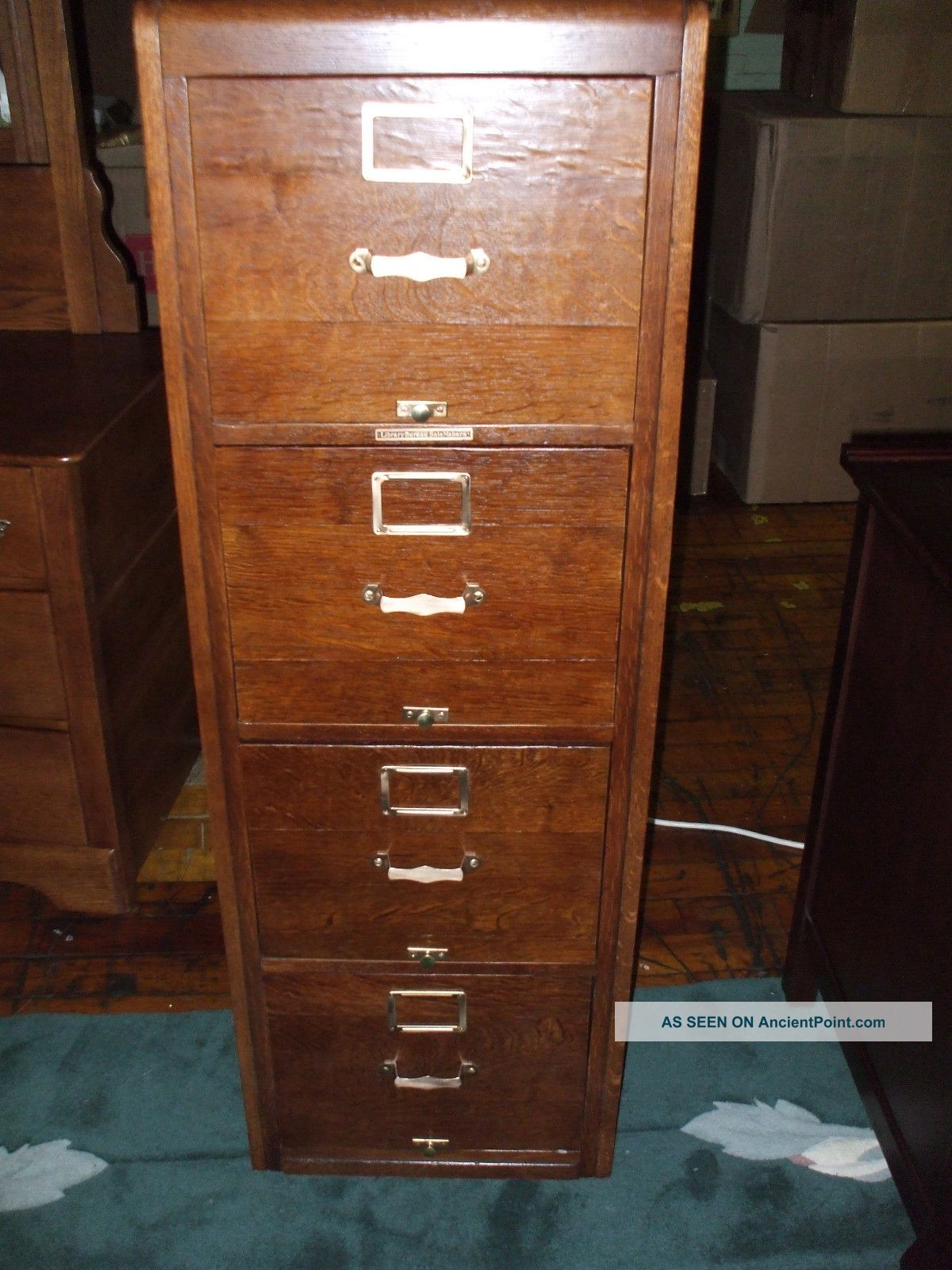 Antique Oak File Cabinet Library Bureau Sole Makers 4 Drawer ...
