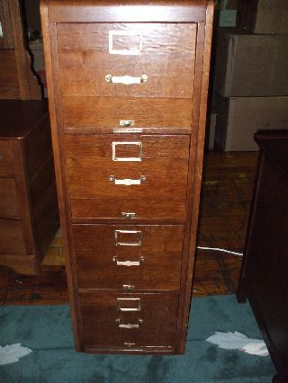 Antique Oak File Cabinet Library Bureau Sole Makers 4 Drawer Refinished Usa photo