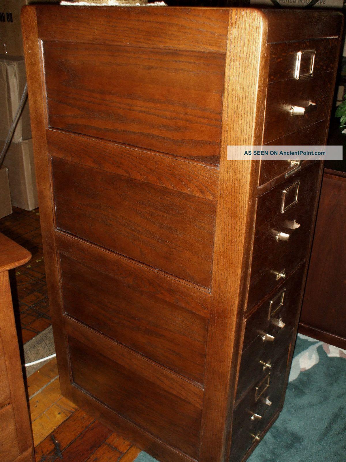 Antique Oak File Cabinet Library Bureau Sole Makers 4 Drawer Refinished Usa - Antique Oak File Cabinet Library Bureau Sole Makers 4 Drawer