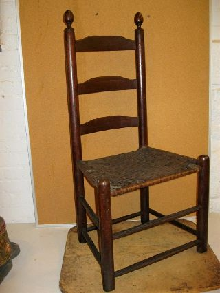 18th C Three Slat Ladderback Chair Acorn Finials In The Best Red Paint photo