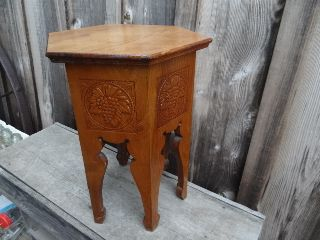 Nightstand Table Grapes Design Oak Wood Hexagon Vintage 18