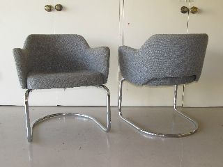 Pair Of Vintage Mid - Century Chrome Armchairs Atomic Saarinen Knoll Panton photo