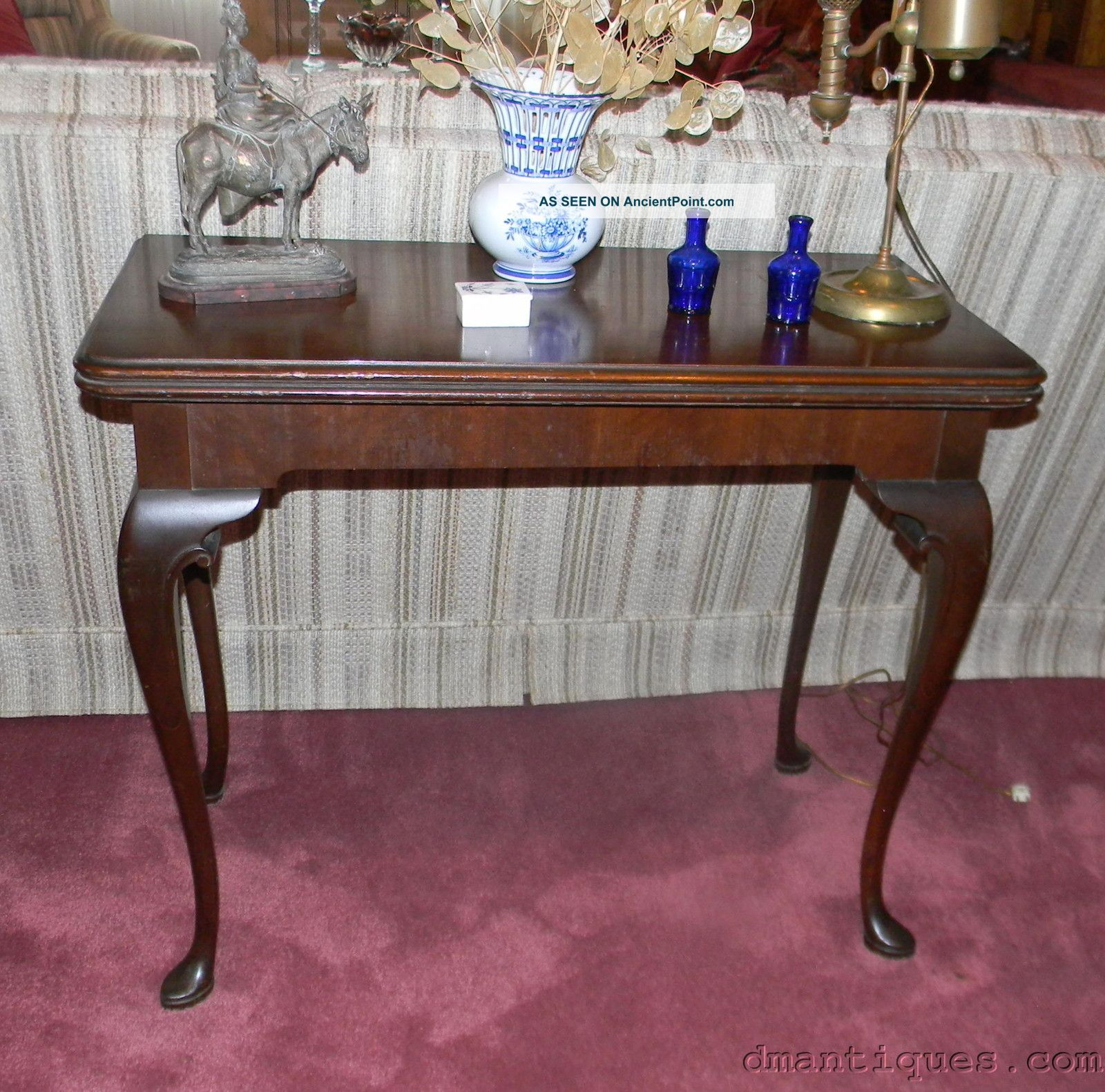 Antique Imperial Mahogany/walnut Console Card Game Table Swivel Flip Top 1900-1950 photo