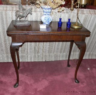 Antique Imperial Mahogany/walnut Console Card Game Table Swivel Flip Top photo