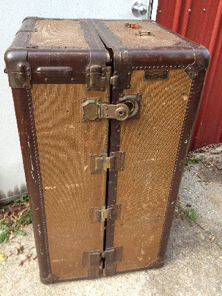 1920 ' S Antique Hartmann Gibraltarized Wardrobe Trunk Steamer Travel Cushion Top photo