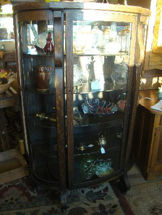 Antique Solid Oak China Cabinet With Curved Glass Doors - High Quality - Mothers D photo
