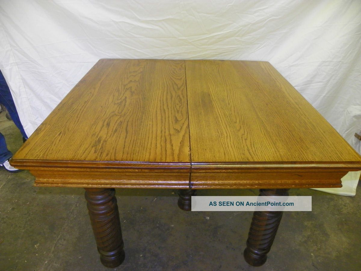 Antique Square Oak Dining Table With 3 Leaves 1900-1950 photo