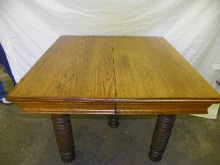 Antique Square Oak Dining Table With 3 Leaves photo