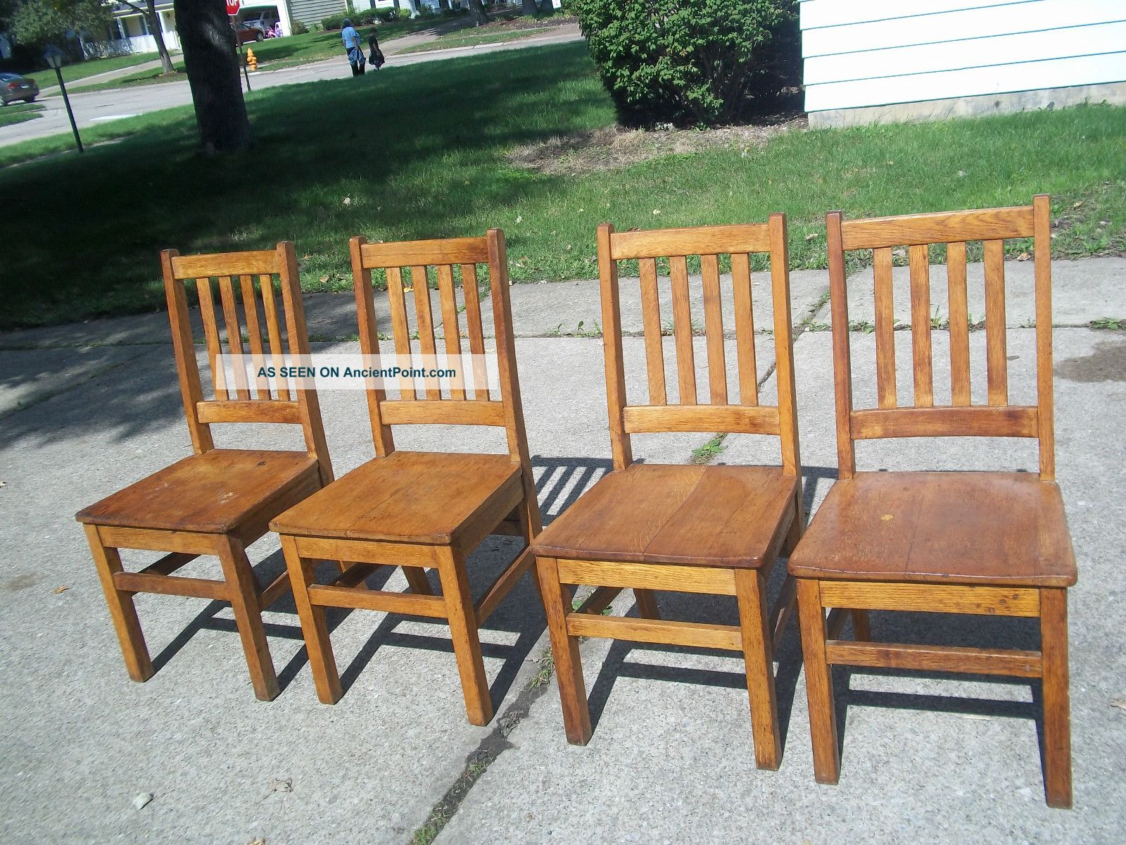 4 Oak Mission Antique Arts Crafts Wood Library Office Arm Chairs