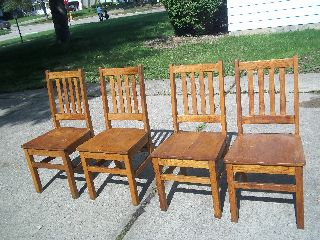 4 Oak Mission Antique Arts Crafts Wood Library/office Arm Chairs photo