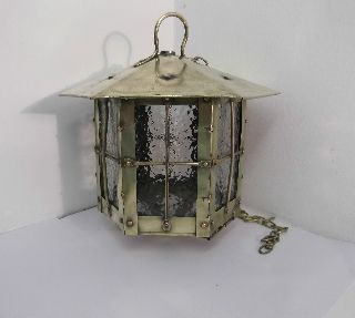 Edwardian Brass Hanging Lantern / Ceiling Light photo