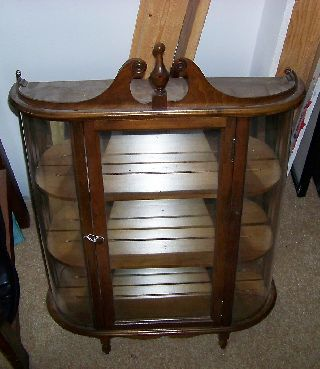 Antique Georgian Style Curved Glass Walnut Wall Cabinet Curio photo