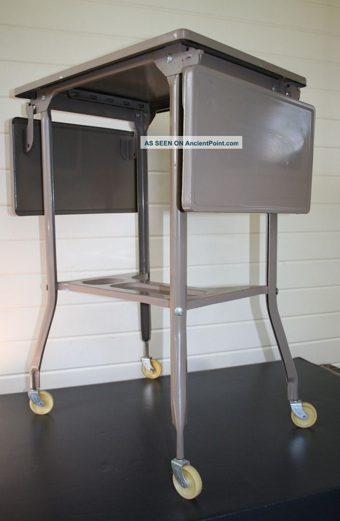 Vtg Mid - Century Modern Industrial Machine Age Typewriter Bedside Table Stand 50s 1900-1950 photo