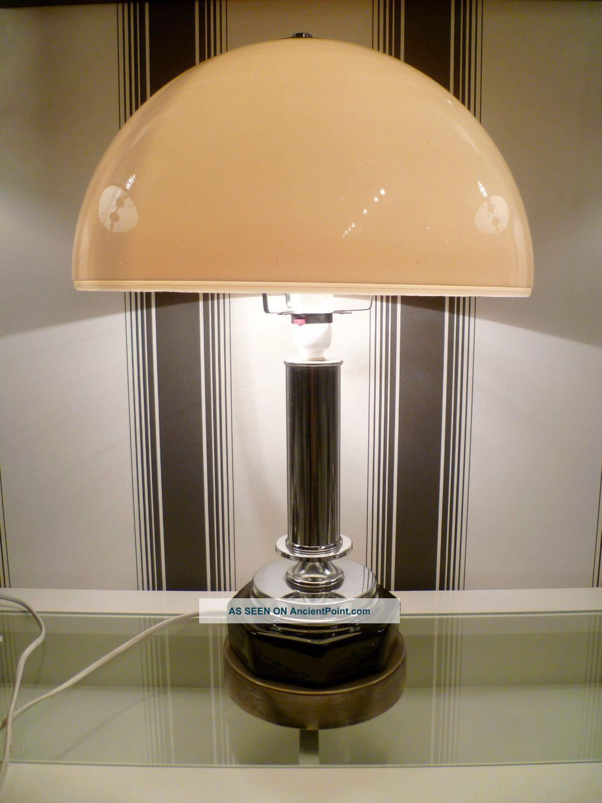 Large 1950s Art Deco Revival Table Lamp Chrome Black White