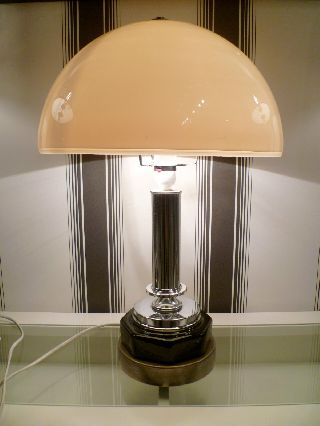 Large 1950s Art Deco Revival Table Lamp Chrome Black & White Retro Bauhaus Style photo