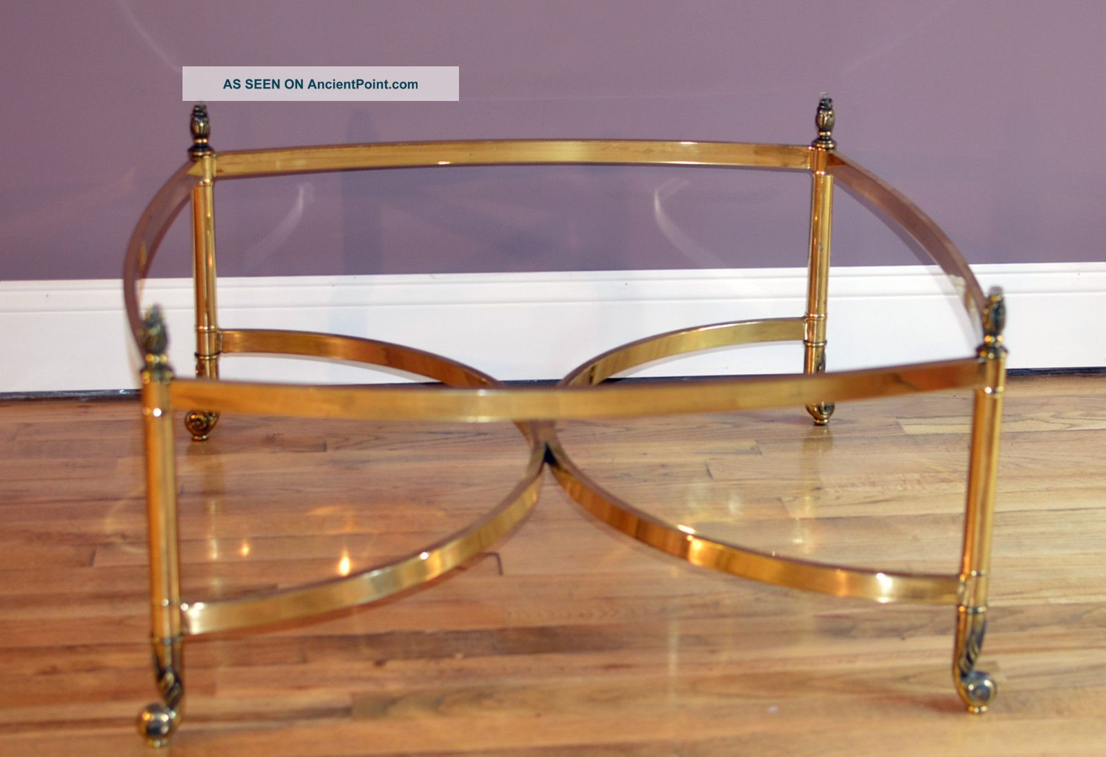 Brass Coffee Table Hollywood Regency Antique Modern Design Vintage Glass Top 1900-1950 photo