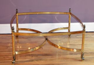 Brass Coffee Table Hollywood Regency Antique Modern Design Vintage Glass Top photo