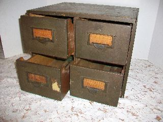 Vintage Oak 4 Drawer File Index Card Library Cabinet Dovetail Drawers photo