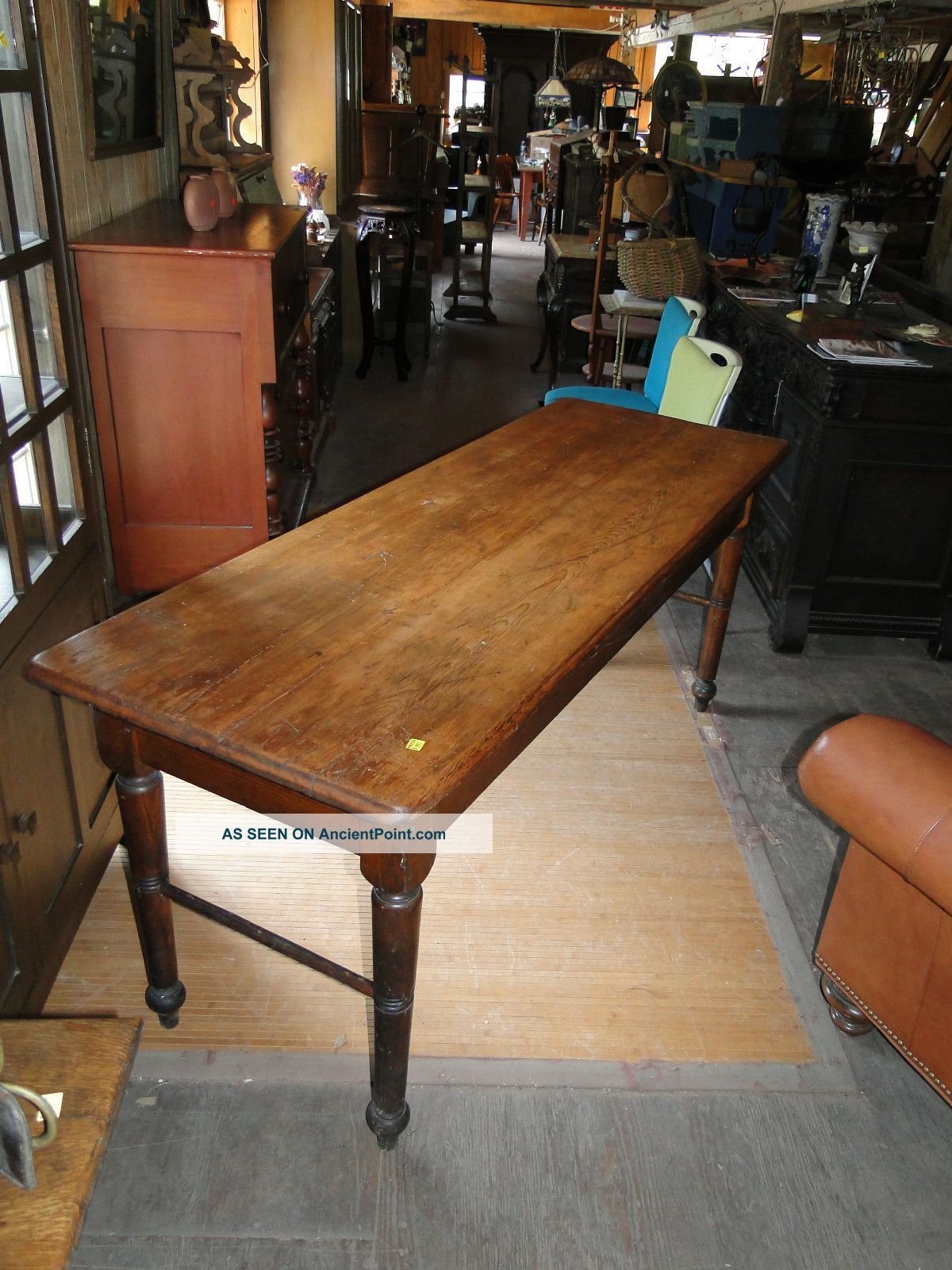 Country Farm Table With 2 Board Top 1900-1950 photo