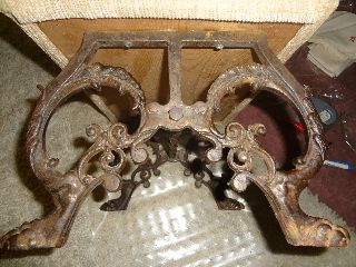 Antique Footstool Footed Wrought Iron photo
