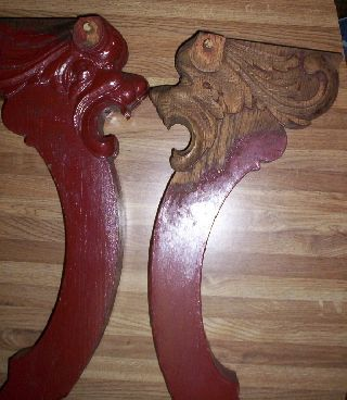 2 Vintage Carved Wooden Gargoyle Head Table Legs Wooden Gargoyles Table Legs photo