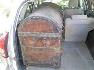 Huge Antique Post Civil War Era 1868 Chest Trunk Stage Coach Treasure Steamer A+ photo
