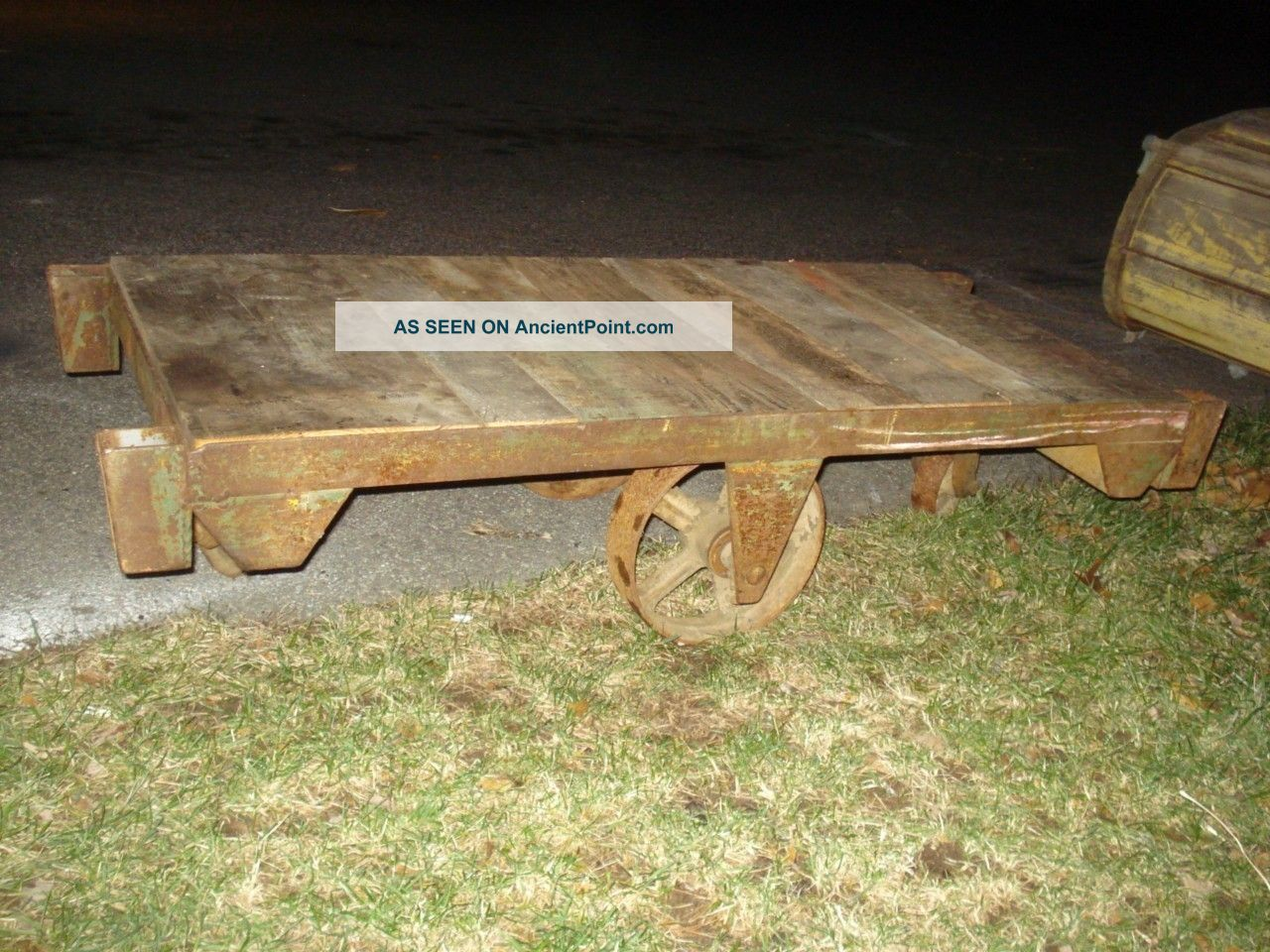 Antique Wood And Metal Industrial Cart - - - - Use As A Great Low Coffee Table 1900-1950 photo