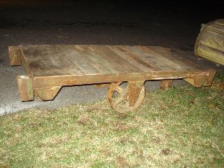 Antique Wood And Metal Industrial Cart - - - - Use As A Great Low Coffee Table photo