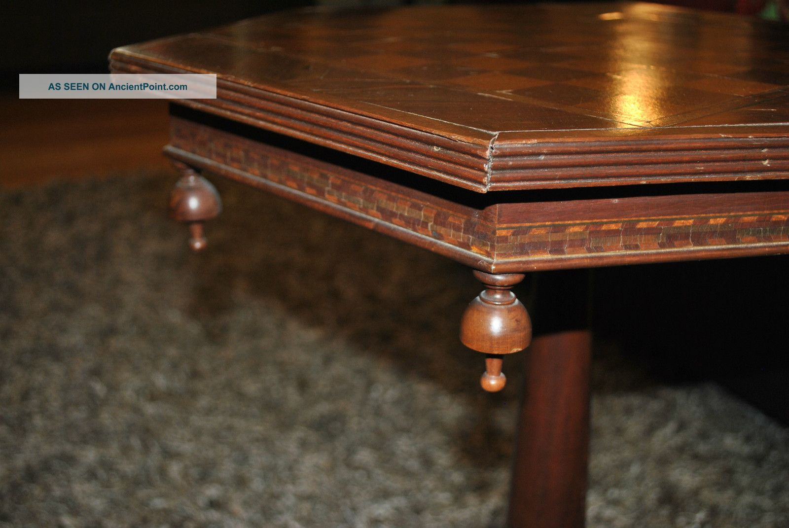 Victorian 19th C.  Inlaid Checkerboard Ornate End Table - Sturdy 1800-1899 photo
