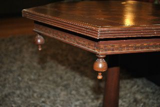 Victorian 19th C.  Inlaid Checkerboard Ornate End Table - Sturdy photo