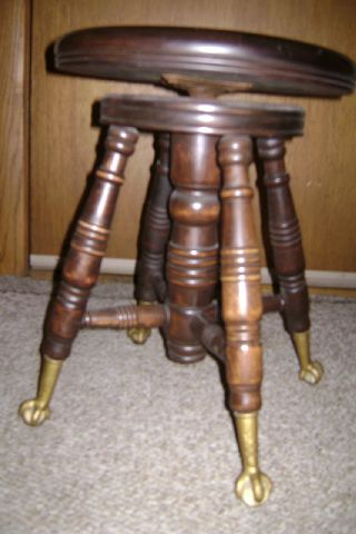 Antique Completely Victorian Piano Stool Glass Ball Eagle Claw Feet photo