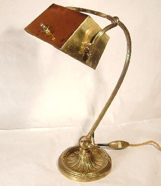 Antique French Solid Brass Desk / Reading Lamp / Light C1895. photo
