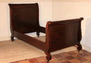 Antique 1890 ' S Mahogany Empire Single/twin Sleigh Bed Frame W/ Rails photo