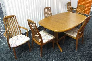Danish Modern Dyrlund Teak Dining Set Table Six Chairs Mid Century photo