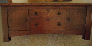 Signed Chas.  Limbert Arts/craft Oak 2 Drawer/2 Door Sideboard/child ' S? photo