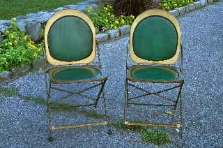 2 Vintage Art Deco Metal Folding Chairs Btc Hostess Brewer Titchener Corp 1940s photo