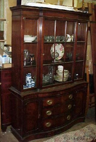 Antique C1930s Drexel Mahogany Breakfront China Cabinet photo