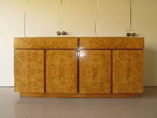 Mid - Century Milo Baughman Burled Olive Wood Credenza Buffet Lane Furniture photo