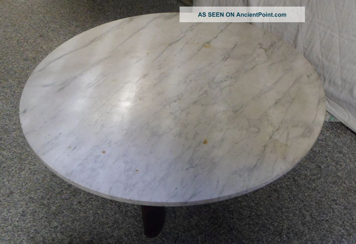 Vintage Antique John Widdicomb Large Round Short Asian Style Marble Table 1900-1950 photo