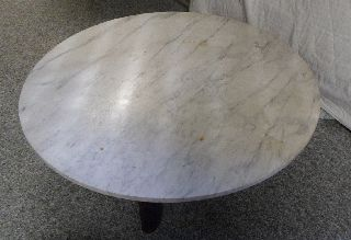 Vintage Antique John Widdicomb Large Round Short Asian Style Marble Table photo