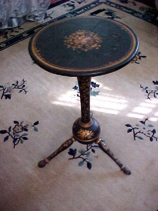 Antique Victorian Chinoiserie Japanned Tripod Table Candlestand Rhode Island photo