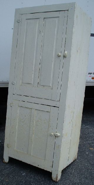 Antique / Old White 2 Door Country Cupboard / Cabinet photo