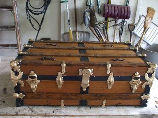 Antique Steamer Cabin Trunk Circa.  1890 photo