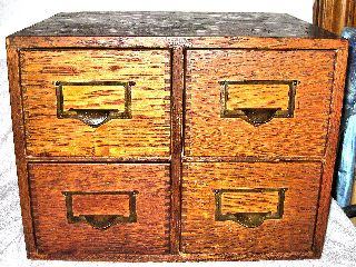 Globe Utility Quartersawn Golden Oak 4 Drawer Dovetailed Card File Cabinet Xlnt photo