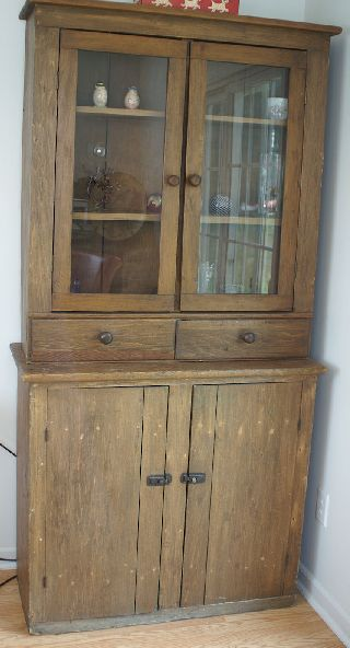 Antique Stepback Cupboard Hutch Primitive Farm House Country Grawn Traverse City photo