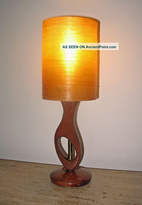 Vintage 1960s 1970s Teak & Brass Lamp Fibreglass Shade Retro Eames G Plan 20th Century photo