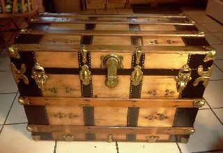1800s Antique Victorian Furniture Steamer Trunk X Large photo